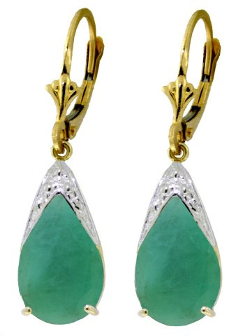 14K GOLD LEVERBACK EARRING WITH 7 CT NATURAL EMERALDS