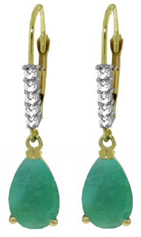 14K LEVER BACK EARRINGS 2.15 CT DIAMONDS & EMERALDS