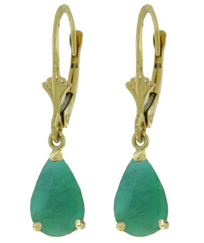 14K SOLID GOLD LEVERBACK EARRING WITH 2 CT EMERALDS