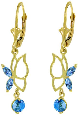 14K SOLID GOLD BUTTERFLY EARRING WITH 0.8 CT BLUE TOPAZ