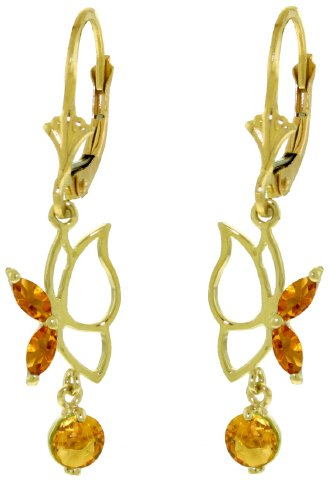 14K SOLID GOLD BUTTERFLY EARRING WITH 0.8 CT CITRINES