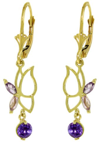14K SOLID GOLD BUTTERFLY EARRING WITH 0.8 CT AMETHYSTS