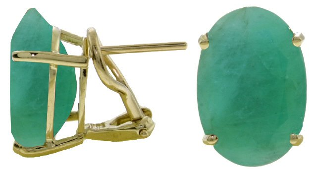 14K GOLD FRENCH CLIPS EARRING WITH 13 CT NATURAL EMERALDS
