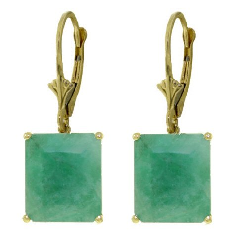 14K SOLID GOLD LEVER BACK EARRING WITH 13 CT EMERALDS