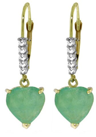 14K GOLD LEVER BACK EARRINGS 2.55 CT DIAMONDS & EMERALD