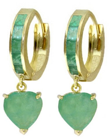 14K SOLID GOLD HOOP EARRING WITH 3.25 CT NATURAL EMERALDS