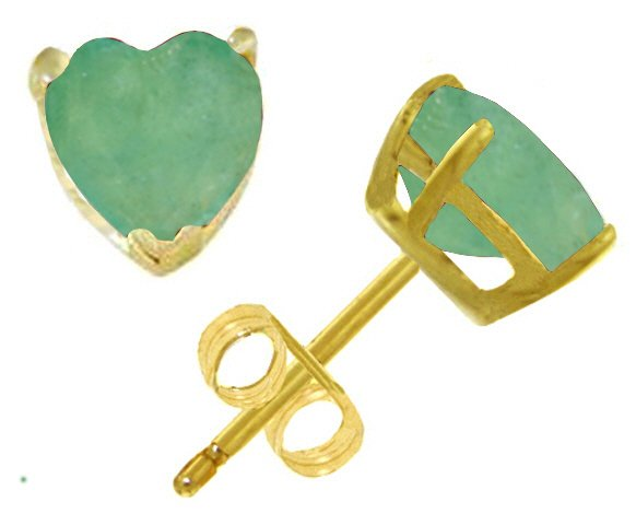 14K GOLD STUD EARRING WITH 2.4 CT NATURAL HEART EMERALDS