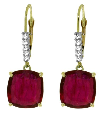 14K GOLD LEVER BACK EARRINGS 9.55 CT DIAMONDS & RUBIES