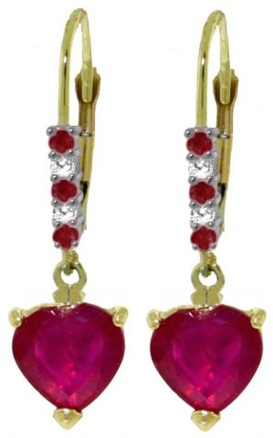 14K GOLD LEVER BACK EARRINGS 2.98 CT DIAMONDS & RUBIES