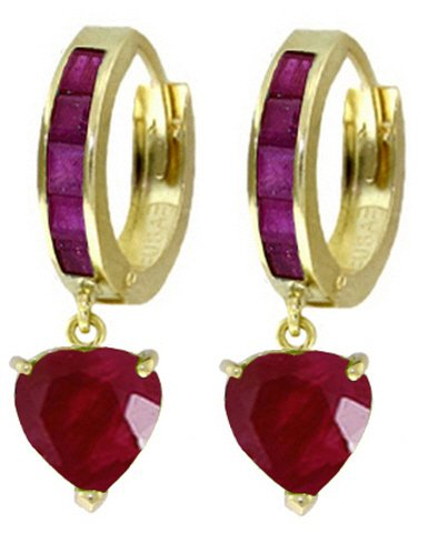 14K SOLID GOLD HOOP EARRING WITH 3.65 CT NATURAL RUBIES