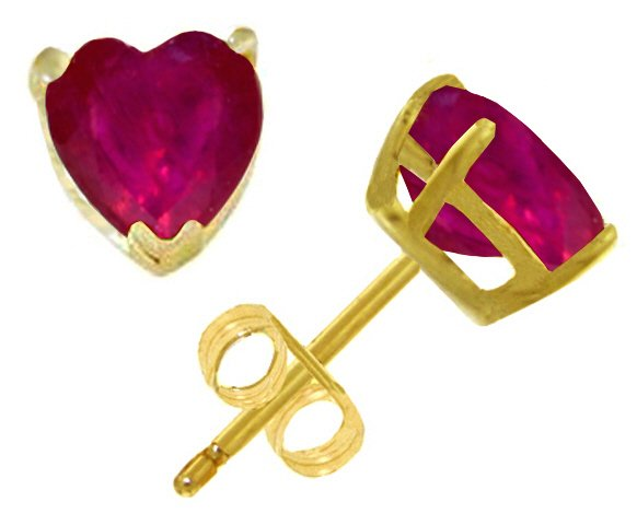 14K SOLID GOLD STUD EARRING WITH 2.9 CT NATURAL HEART RUBIES