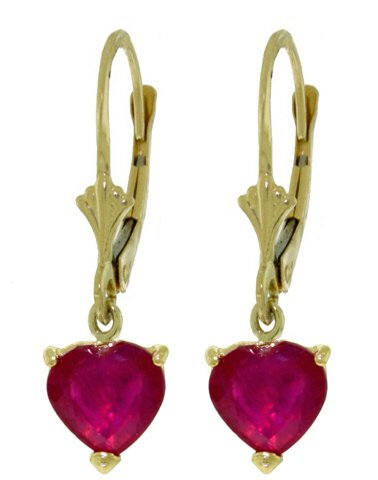 14K SOLID GOLD LEVERBACK EARRING WITH 2.9 CT NATURAL RUBIES