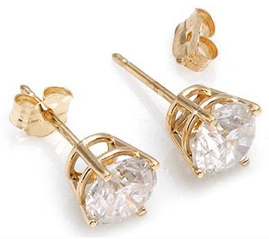 14K GOLD STUD EARRINGS WITH 1.50 CT NATURAL DIAMONDS