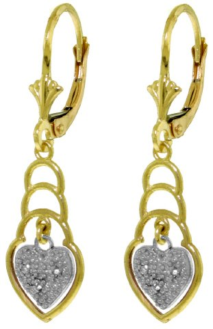 14K SOLID GOLD LEVERBACK EARRINGS WITH DIAMONDS