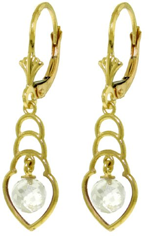 14K SOLID GOLD EARRINGS WITH 1.25 CT NATURAL WHITE TOPAZ