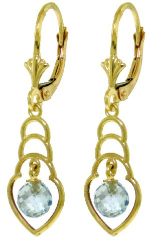 14K SOLID GOLD EARRINGS WITH 1.25 CT NATURAL BLUE TOPAZ