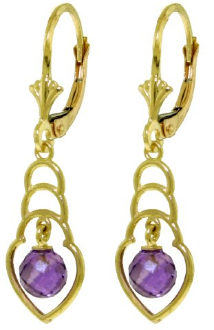 14K SOLID GOLD EARRINGS WITH 1.25 CT NATURAL AMETHYSTS