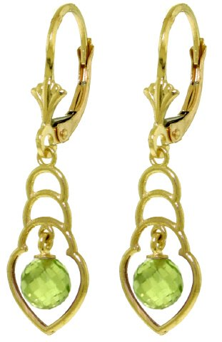 14K SOLID GOLD EARRINGS WITH 1.25 CT NATURAL PERIDOTS