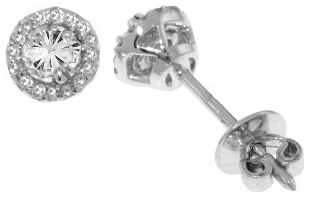 14K SOLID WHITE GOLD STUD EARRINGS WITH NATURAL DIAMONDS