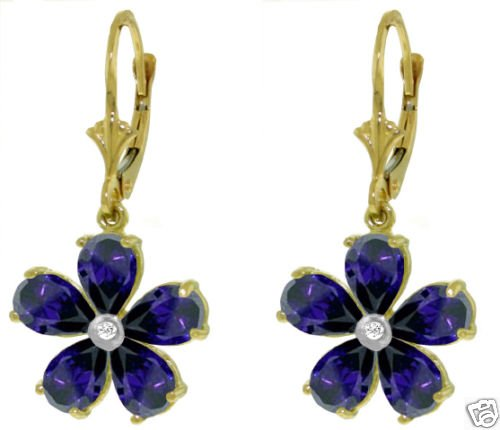 14K GOLD LEVERBACK EARRING 4.43 CT SAPPHIRE & DIAMOND