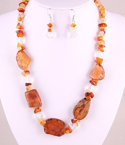 "19""-21.5"" Genuine Peach Agate Necklace-Earring Set"