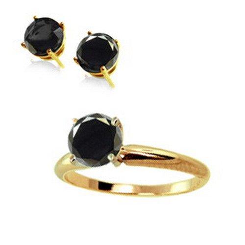 1 ct Black Diamond Ring & Stud Earrings 14K W or Y Gold