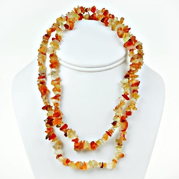 """Impressive 48"""" Necklace with natural Agate chip beads"""