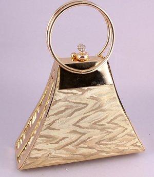 Modern Evening Bag-Metal Frame-Swarovski Crystal-Gold