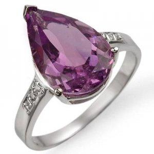 ACA Certified-4.10 ctw Amethyst & Diamond Ring W Gold