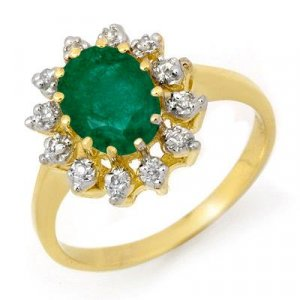 ACA Certified-1.46 ct Emerald & Diamond Ring Y Gold