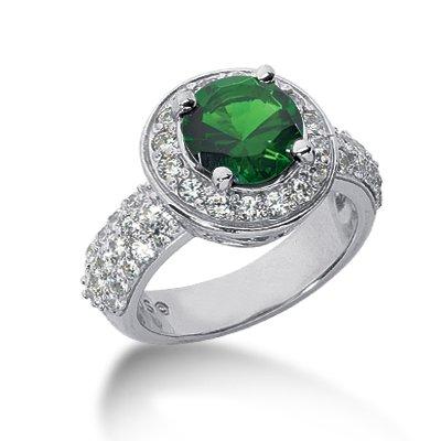 RARE 5.54 ct Oval Shape Emerald & Diamond 14k Gold Ring