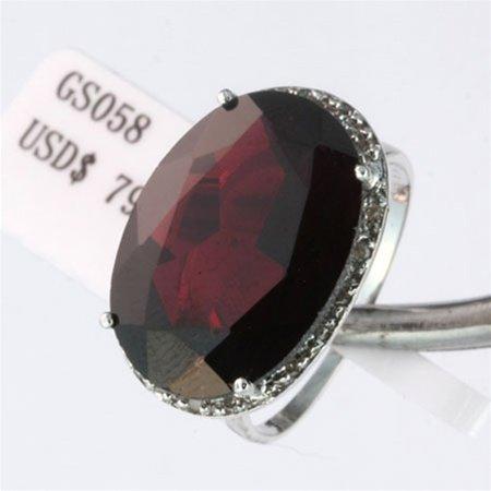 14.13 ct Genuine Garnet & Diamond Gold Ring