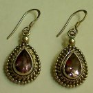 UNIQUE 925 Sterling Silver 6ct Amethyst Dangle Earrings