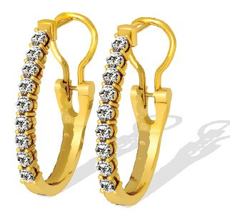 1.00 ctw Diamond Earrings 14k Gold g SI-1
