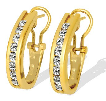 1.00 ctw Diamond Earrings 16 Diamonds G SI-1 14k Gold