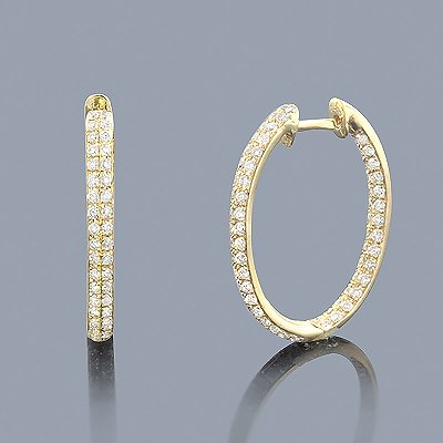 1.42 ct Inside Out Diamond Hoop Earrings 14K Gold