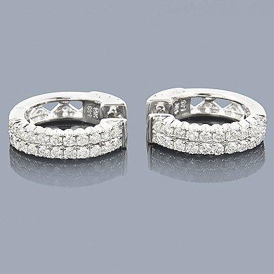 14K Gold 1.10 ctw Diamond Hoop Huggie Earrings