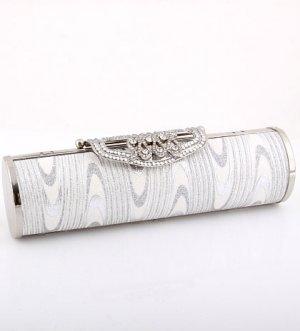 Stunning Evening Clutch Bag Silver Tone Swarovski Crystal