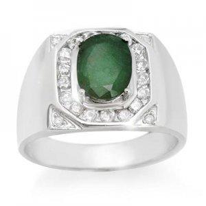2.60 ctw Diamond & Emerald 14K White Gold Men's Ring