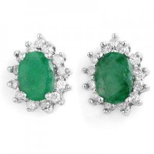 3.85 ctw Emerald & Diamond Earrings 14K White Gold
