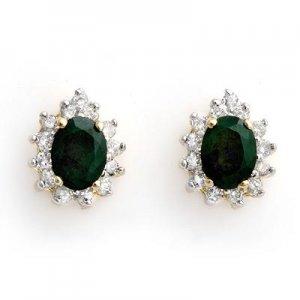 3.85 ctw Emerald & Diamond Earrings 14K Yellow Gold