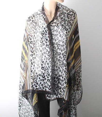 Stylish Animal Print Cotton Shawl - Black Color Mix