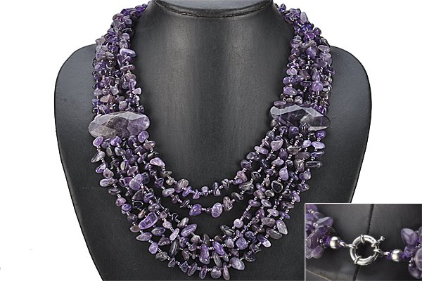 Over 500 ctw  Amethyst 6 Strand 21 inch Necklace