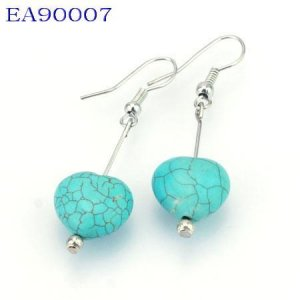No:7 Genuine Handmade Silver Turquoise Earring