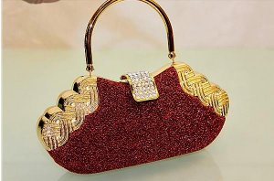 High End Quality Red Clutch Bag Genuine Austrian Crystal