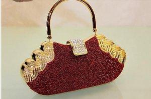 High End Quality Red Clutch Bag Genuine Austrian Crystal