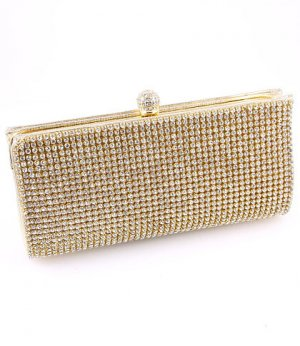 High End Quality Clutch Gold Bag Genuine Austrian Crystal
