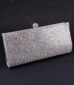 High End Quality Clutch Silver Bag Genuine Austrian Crystal Rhinestone