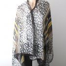 Very Large Animal Print Cotton Shawl - Brand New - Black Color Mix