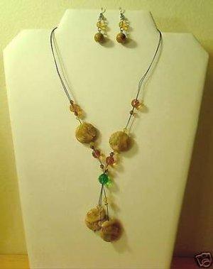 "17""-20"" Beautiful Jasper & Quartz Necklace & Earring Set"